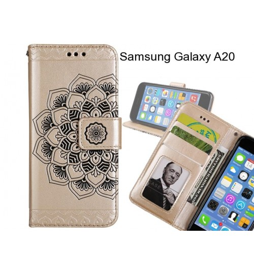 Samsung Galaxy A20 Case mandala embossed leather wallet case