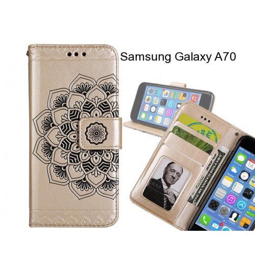 Samsung Galaxy A70 Case mandala embossed leather wallet case