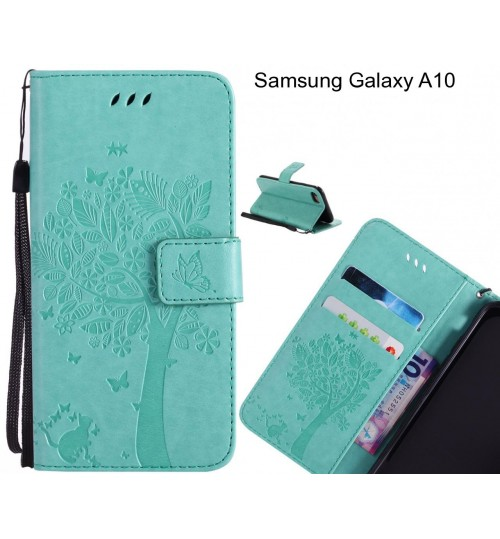 Samsung Galaxy A10 case leather wallet case embossed cat & tree pattern