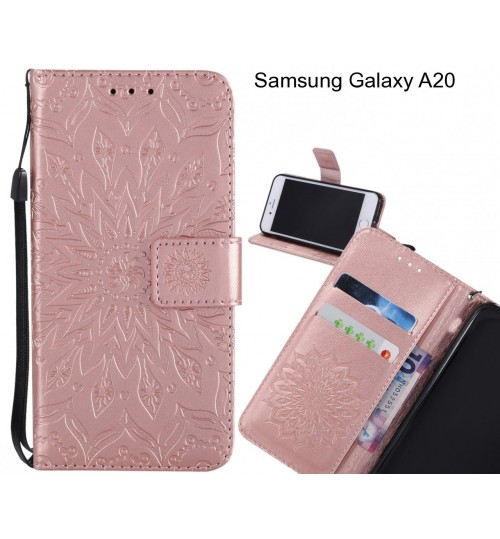 Samsung Galaxy A20 Case Leather Wallet case embossed sunflower pattern