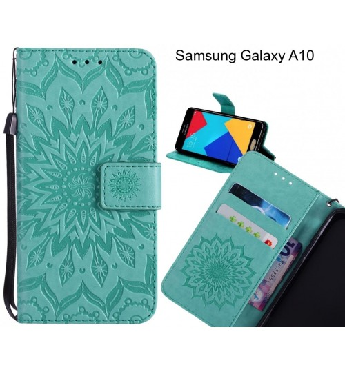 Samsung Galaxy A10 Case Leather Wallet case embossed sunflower pattern