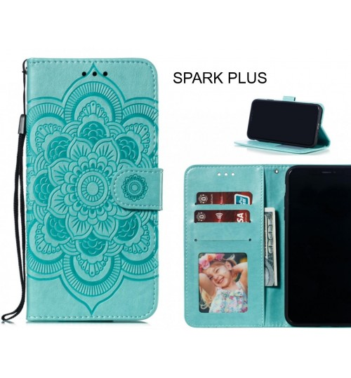 SPARK PLUS case leather wallet case embossed pattern