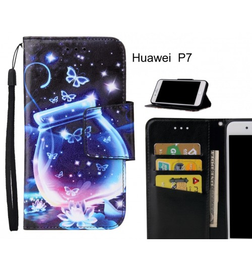 Huawei  P7 Case wallet fine leather case printed