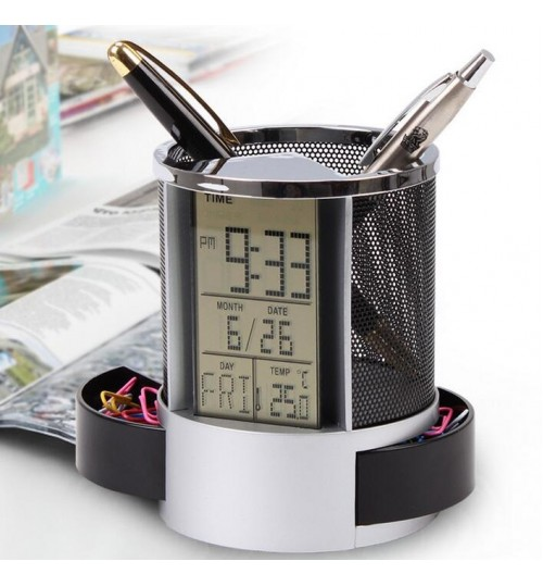 Clock Pen Holder Digital LCD Display Desk Alarm Clock Pen Pencil Holder