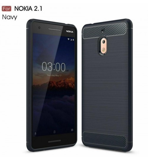 Nokia 2.1 case rugged case with carbon fiber