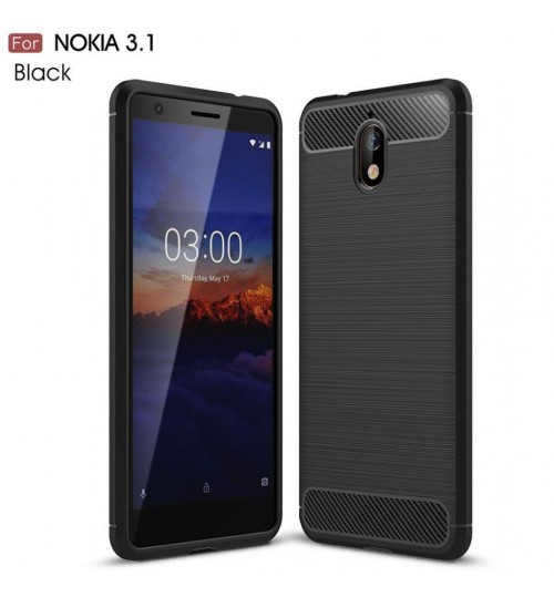 Nokia 3.1 case rugged case with carbon fiber