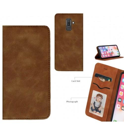 Galaxy J8 Case Premium Leather Magnetic Wallet Case