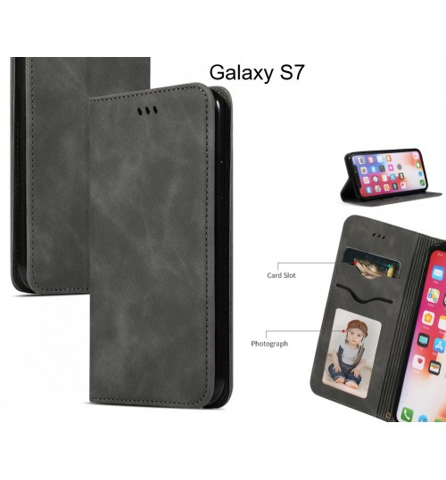 Galaxy S7 Case Premium Leather Magnetic Wallet Case