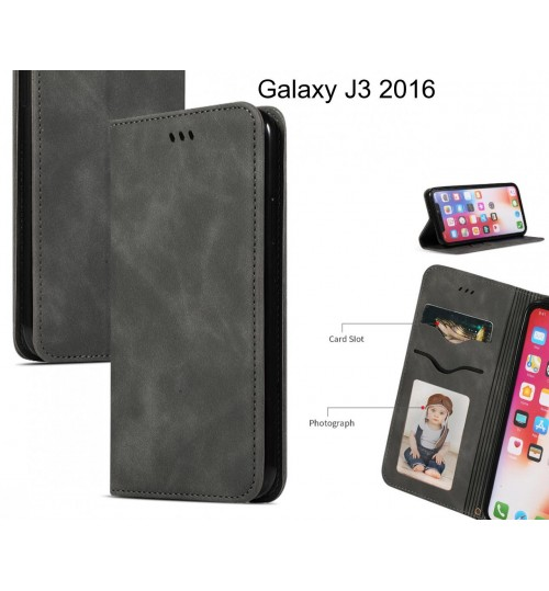 Galaxy J3 2016 Case Premium Leather Magnetic Wallet Case