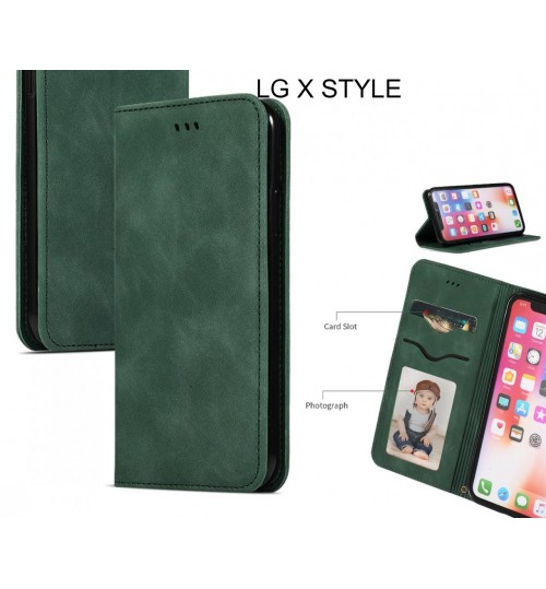 LG X STYLE Case Premium Leather Magnetic Wallet Case