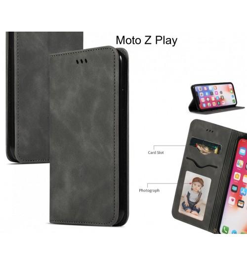 Moto Z Play Case Premium Leather Magnetic Wallet Case