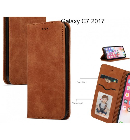 Galaxy C7 2017 Case Premium Leather Magnetic Wallet Case
