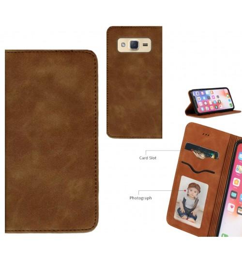 Galaxy J2 Case Premium Leather Magnetic Wallet Case