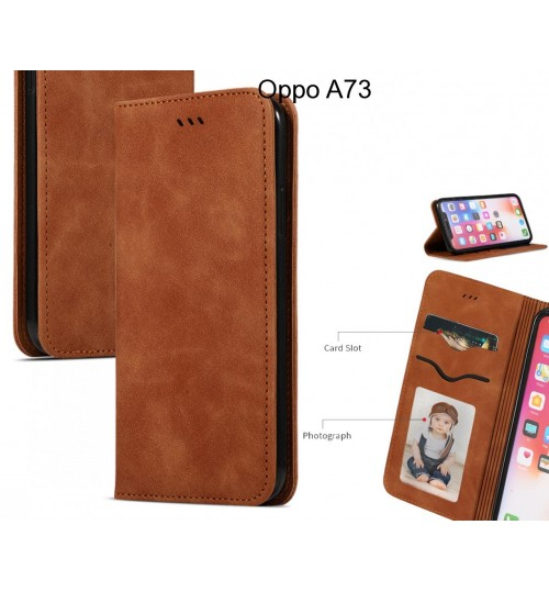 Oppo A73 Case Premium Leather Magnetic Wallet Case