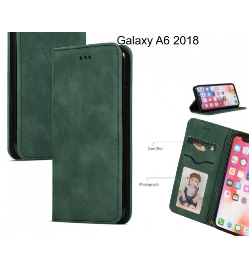 Galaxy A6 2018 Case Premium Leather Magnetic Wallet Case