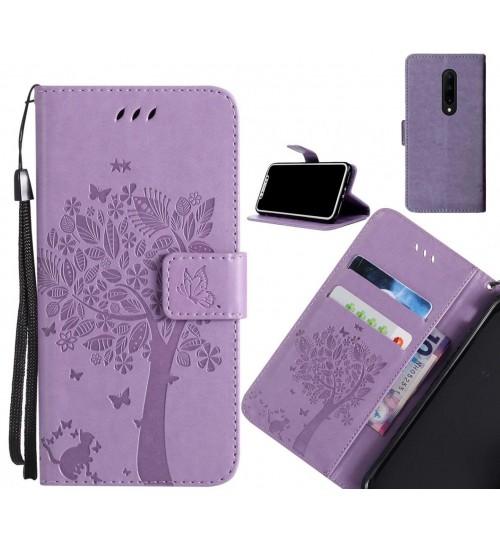 OnePlus 7 Pro case leather wallet case embossed cat & tree pattern