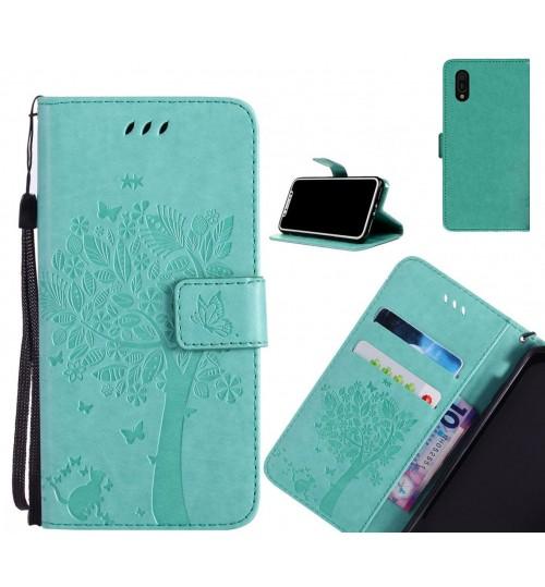 Huawei Y6 Pro 2019 case leather wallet case embossed cat & tree pattern