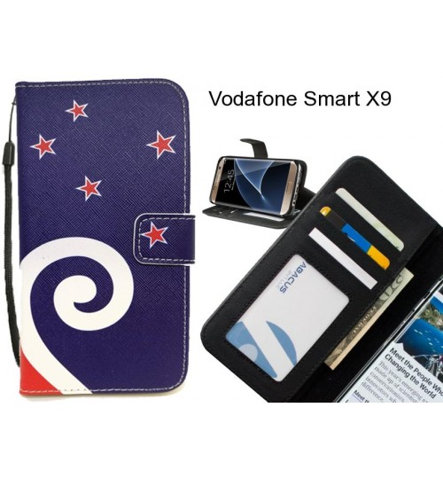 Vodafone Smart X9 case 3 card leather wallet case printed ID