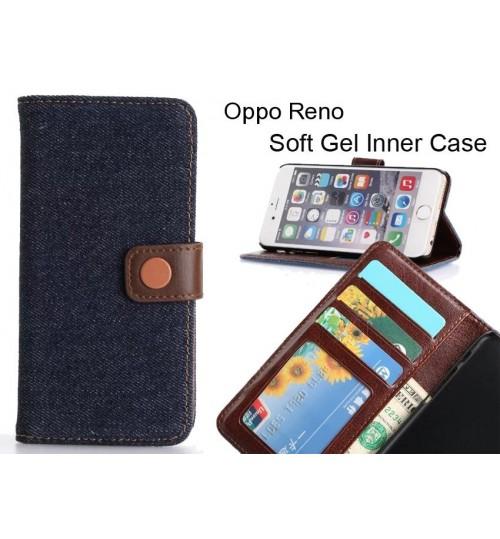 Oppo Reno  case ultra slim retro jeans wallet case