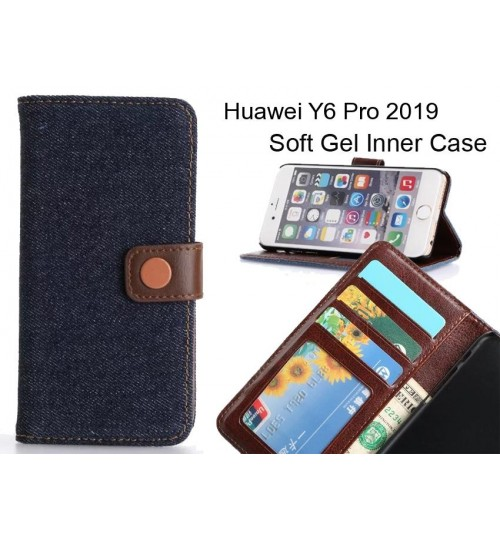 Huawei Y6 Pro 2019  case ultra slim retro jeans wallet case