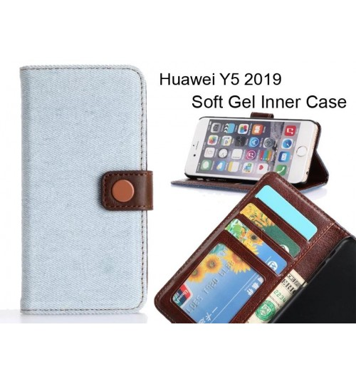 Huawei Y5 2019  case ultra slim retro jeans wallet case
