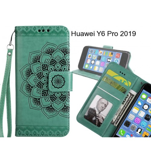 Huawei Y6 Pro 2019 Case mandala embossed leather wallet case
