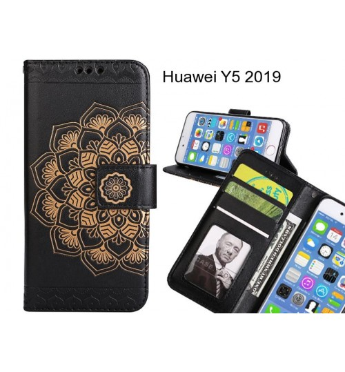Huawei Y5 2019 Case mandala embossed leather wallet case