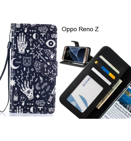 Oppo Reno Z case 3 card leather wallet case printed ID