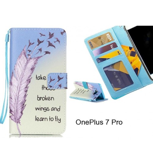 OnePlus 7 Pro case 3 card leather wallet case printed ID