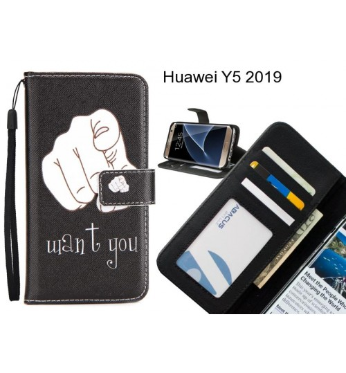 Huawei Y5 2019 case 3 card leather wallet case printed ID