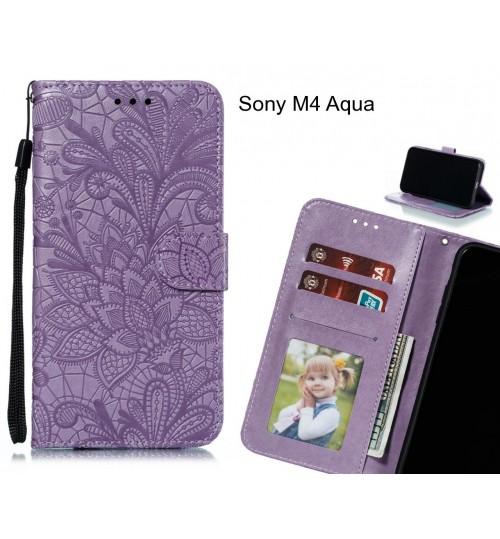 Sony M4 Aqua Case Embossed Wallet Slot Case