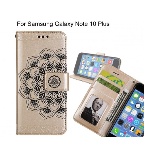 Samsung Galaxy Note 10 Plus Case mandala embossed leather wallet case