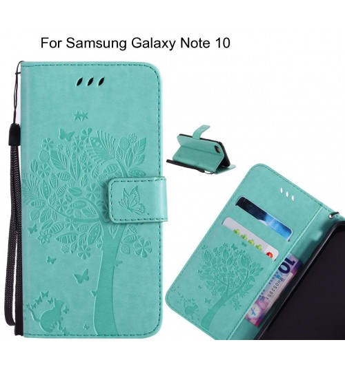 Samsung Galaxy Note 10 case leather wallet case embossed cat & tree pattern
