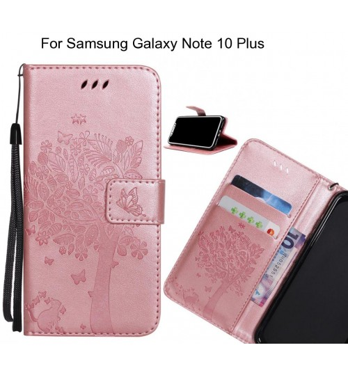 Samsung Galaxy Note 10 Plus case leather wallet case embossed cat & tree pattern