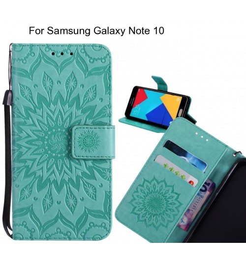 Samsung Galaxy Note 10 Case Leather Wallet case embossed sunflower pattern