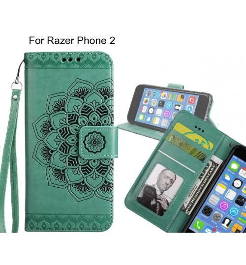Razer Phone 2 Case mandala embossed leather wallet case