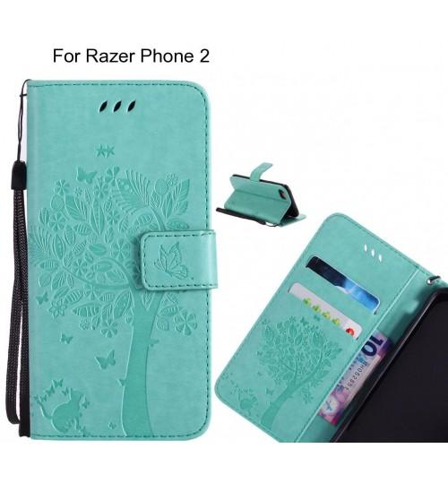 Razer Phone 2 case leather wallet case embossed pattern