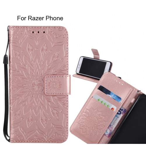Razer Phone Case Leather Wallet case embossed sunflower pattern