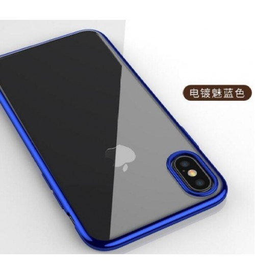 iPhone XS case plating bumper with clear gel back cover case