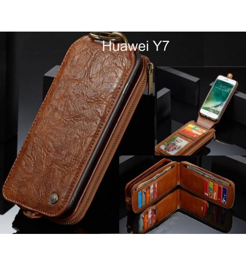 Huawei Y7 case premium leather multi cards 2 cash pocket zip pouch
