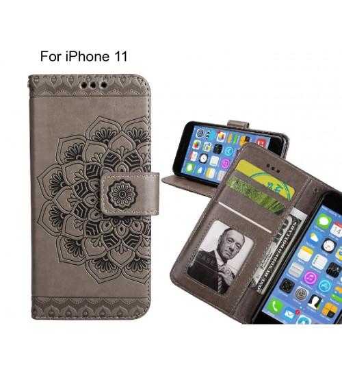 iPhone 11 Case mandala embossed leather wallet case