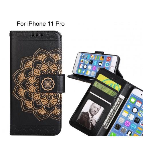 iPhone 11 Pro Case mandala embossed leather wallet case