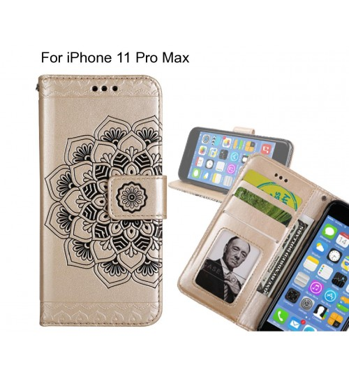 iPhone 11 Pro Max Case mandala embossed leather wallet case