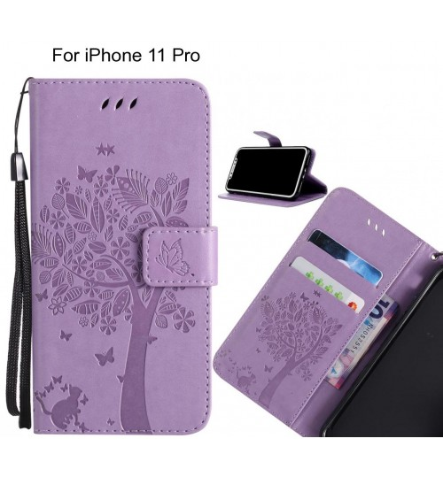 iPhone 11 Pro case leather wallet case embossed pattern