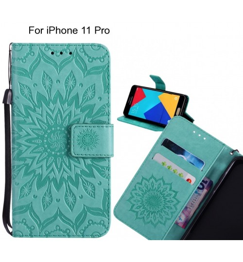 iPhone 11 Pro Case Leather Wallet case embossed sunflower pattern