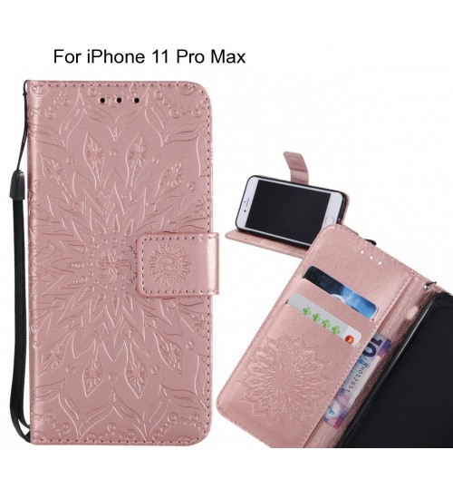 iPhone 11 Pro Max Case Leather Wallet case embossed sunflower pattern