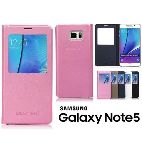 Samsung Galaxy Note 5 case Leather Flip window