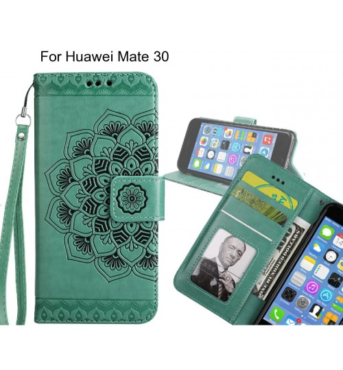 Huawei Mate 30 Case mandala embossed leather wallet case