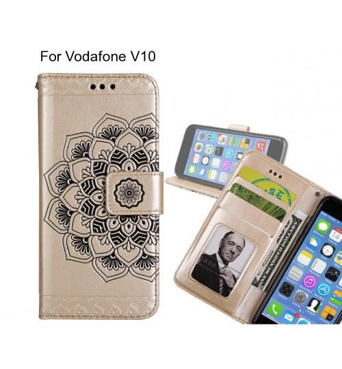 Vodafone V10 Case mandala embossed leather wallet case