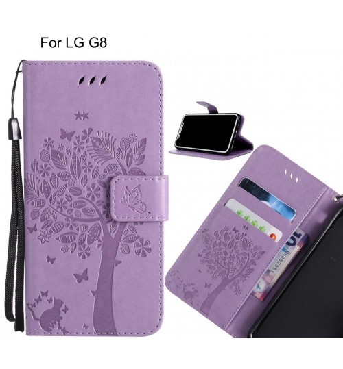 LG G8 case leather wallet case embossed pattern